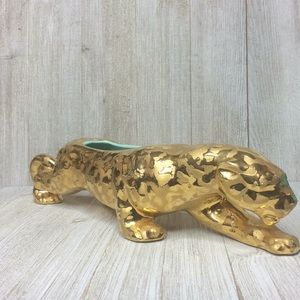 Vtg MCM Weeping 24K Gold Panther Jaguar Planter